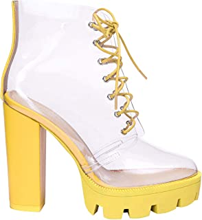 OLCHEE Women's Fashion Clear Lace Up Ankle Boots - Transparent PVC Platform Block High Heels