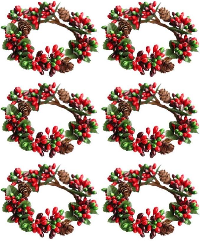 Amosfun - Juego de 6 servilleteros de Navidad, diseño de hojas de té, para el hogar, fiestas, Halloween, Navidad, bodas, plástico, Picture 1, Talla 1