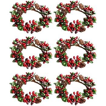 STOBOK 12 Piezas Servilletero de Navidad Aros para Servilletas Decoraciones de Mesa Comedor Cena Banquete Vacaciones Nochebuena A/ño Nuevo Pascua D/ía de Acci/ón de Gracias