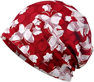 AICHUAN Women's Cotton Beanie Lace Turban Soft Sleep Cap Chemo Hats Fashion Baggy Slouchy Hat