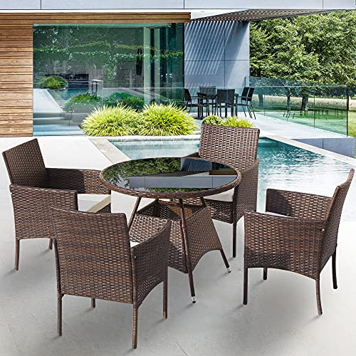 5 Pieces Garden Rattan Dining Table Furniture Set for 4 Peoples, Patio Outdoor Rattan Patio Dining Table Set Includes Cushion, One Table 4 Chairs Outdoor Indoor Weatherproof Patio Conservatory