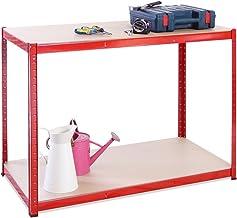 G-Rack Garage Werkbank: 90cm x 120cm x 60cm | Rood 2 Tier Unit | 300kg laadgewicht per laag (600kg per eenheid) | Thuis, k...
