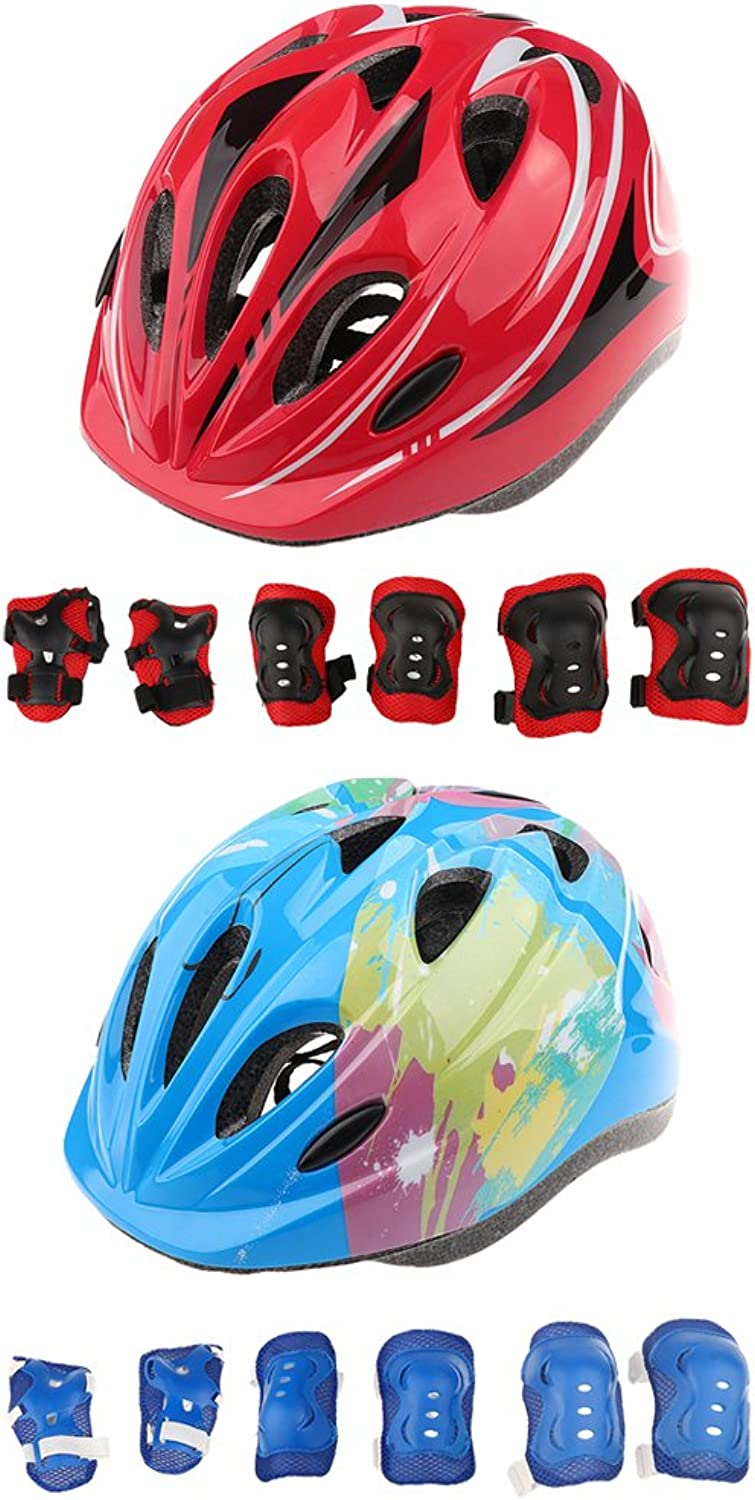 MonkeyJack 2 Sets Kids Roller Skating Bicycle Helmet Knee Wrist Guard Elbow Pad - Adjustable Kid's Predective Gear Set
