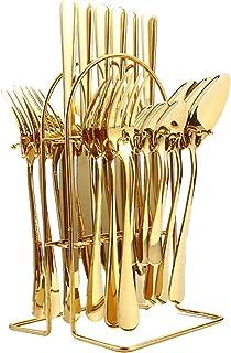4 قطع من الفولاذ المقاوم للصدأ أدوات السكاكين أطباق مجموعة مع ملعقة سكين شوكة، 24 قطعة مجموعة من الفضة + إطار الحديد + مرب...