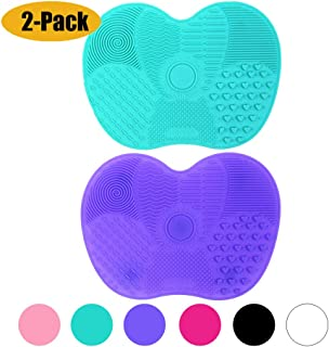 [2-Pack] Makeup Brush Cleaning Mat, Silicone Portable Brush Cleaner Pad Washing Tools with Suction Cups (Green+Purple)