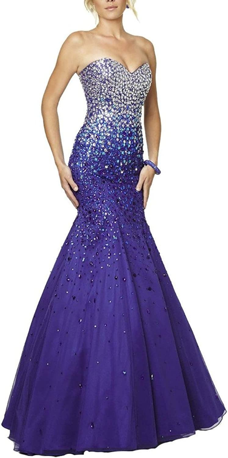 HSDJ Women's Full length Strapless Beaded Layered Mermaid Gown Prom Pageant Dresses