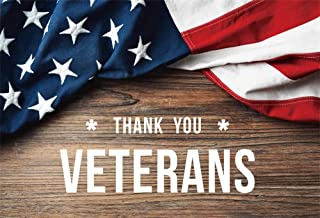 AOFOTO 6x4ft Thank You Veterans with American Flag on Brown Wood Background Veterans Day Backdrop Memorial Day Holidays Boy Man Soldier Portrait Photoshoot Background Studio Props Vinyl Poster