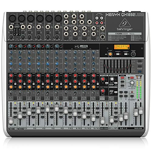 Behringer Xenyx Qx1832Usb Premium 18-Input 3/2-Bus Mixer with XENYX Mic Preamps & Compressors, KLARK TEKNIK Multi-FX Processor, Wireless Option and USB/Audio Interface