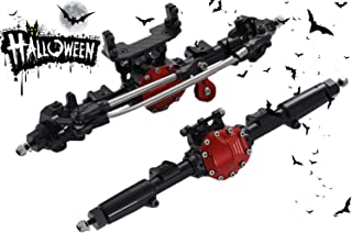 RZXYL Aluminum Universal Alloy Front Axle and Rear Axle for 1:10 Axial SCX10 RC Model Crawler Car (Black)