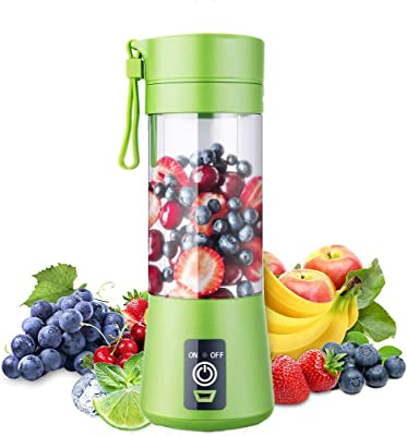 Portable Blender, Personal Blender, Small Fruit Mixer with 6 Blades, Electric USB Rechargeable Juicer Cup, Fruit Mixing Machine Home,Travel,BBQ (Green)