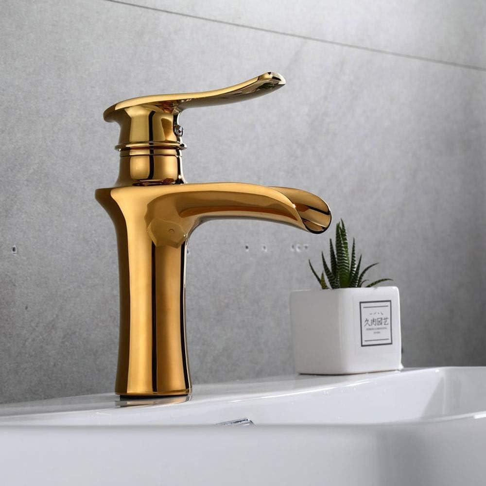 Water Faucet Basin Water-Saving Sanitary Ware Splash-Proof Sprinkler Faucet Basin Faucet Faucet;tap;Bibcock Golden Above Counter Basin Color : A Waterfall Basin