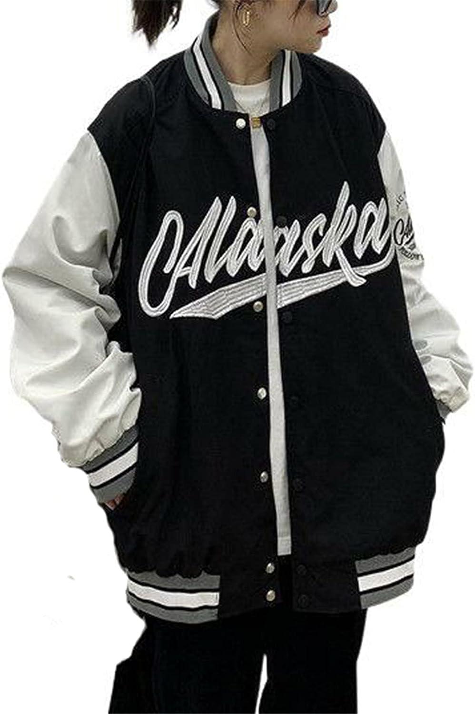 Women's Zip Up Bomber Jacket Oversized Baseball Coat Letter Print Vintage Harajuku Boyfriend Baggy Outer Y2K Punk Streetwear