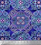 Soimoi Blau Baumwoll-Popeline Stoff Paisley & Mandala