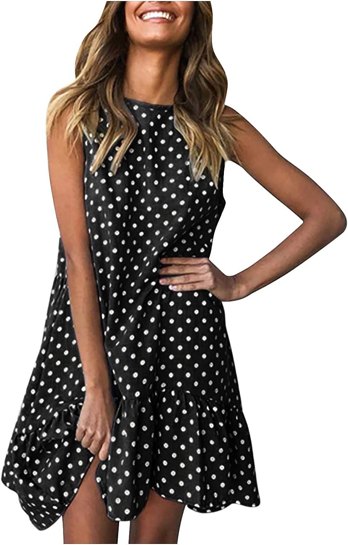 5665 Women's Summer Round Neck Polka Dot Print Loose Casual Fashion Vest Sleeveless Dress