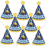 Big Dot of Happiness Construction Truck - Mini Cone Baby Shower or Birthday Party Hats - Small Little Party Hats - Set of 8