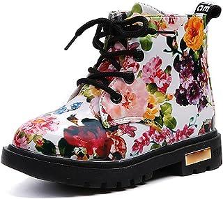 BOZEVON Hiver Bébé Mode Fleurs Martin Bottes Enfants Chaud Chaussures Filles Fourrure imperméable Bottines