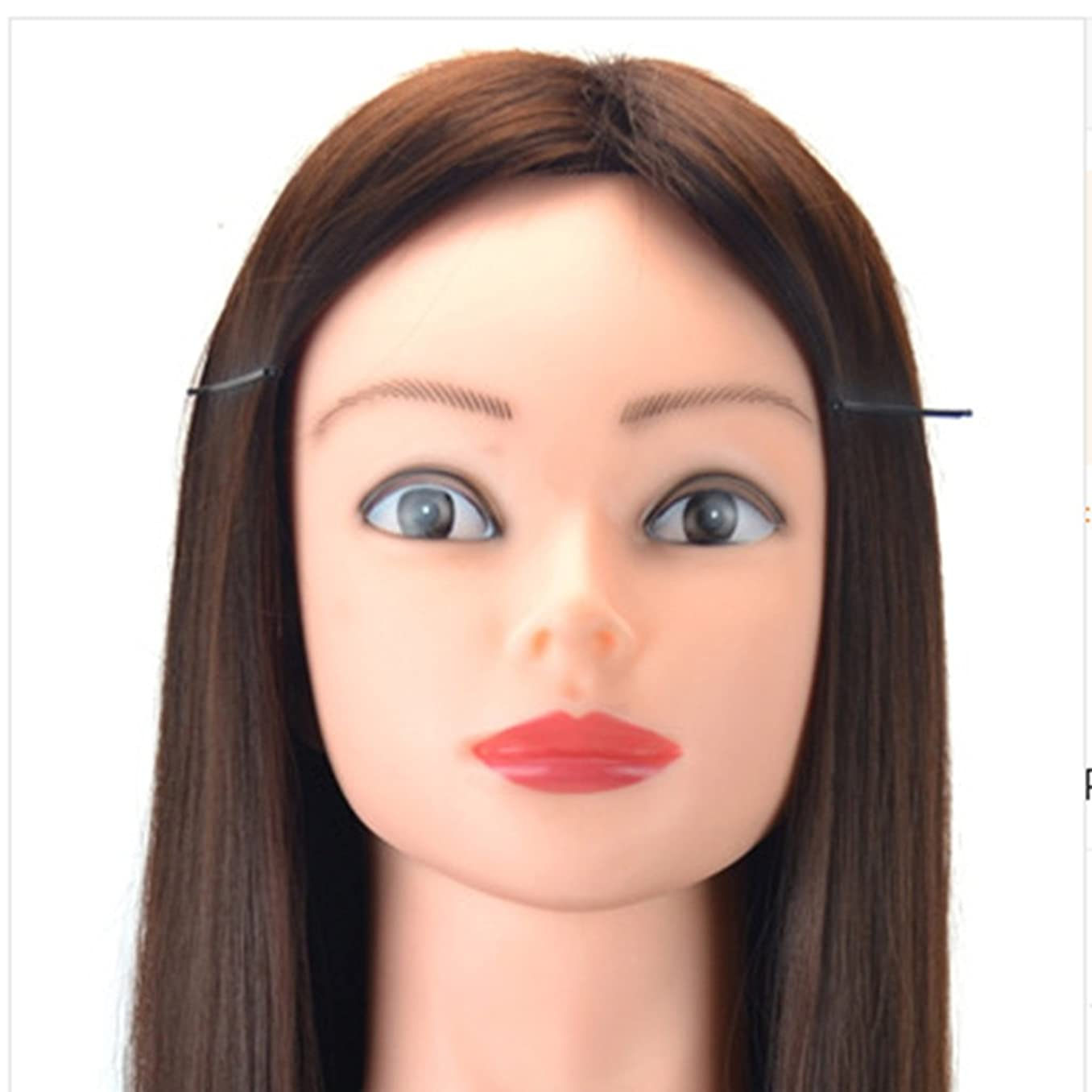 ストリップ盆地火山学者JIANFU メイク修理またはウィッグヘッドとブラケットティーチングヘッドを含む60cmのウィッグヘッドをカットして髪を編む練習用ディスク (Color : Chestnut)