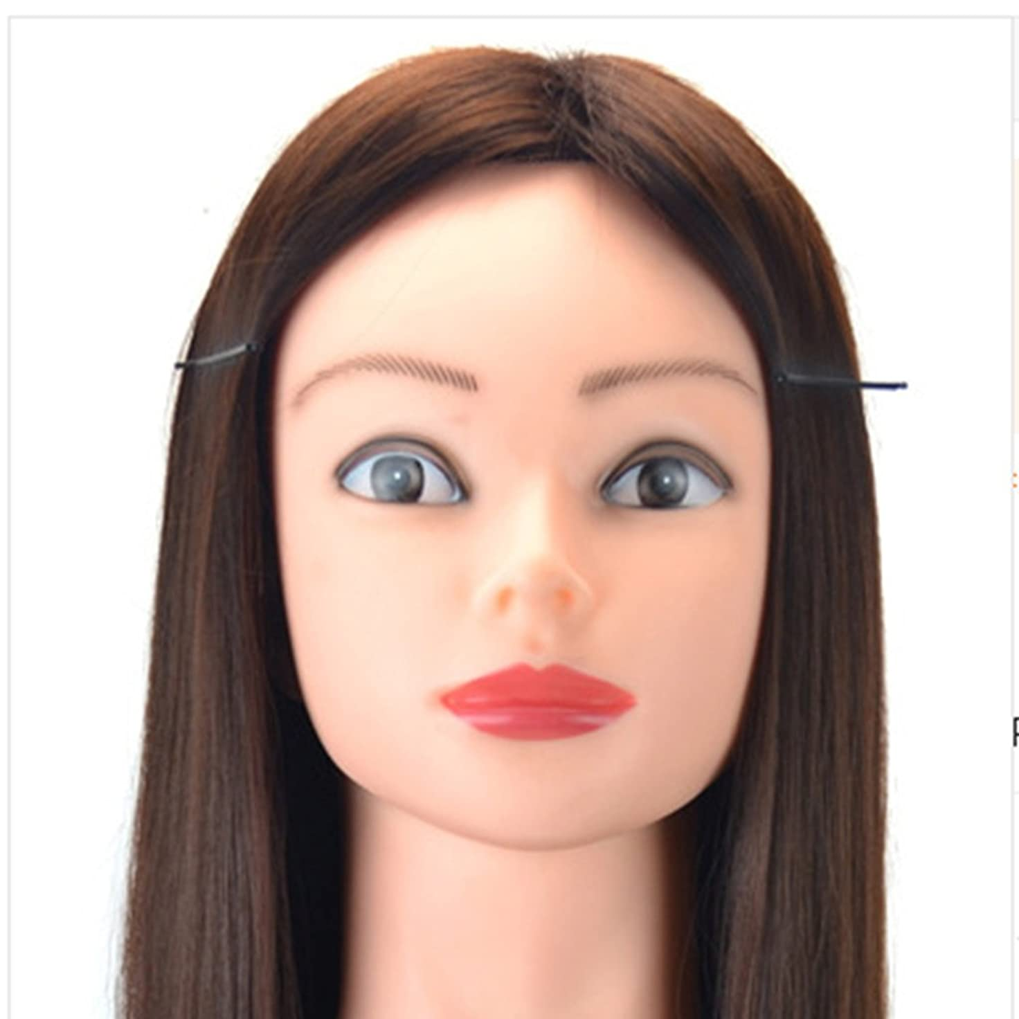 無秩序急いで交流するJIANFU メイク修理またはウィッグヘッドとブラケットティーチングヘッドを含む60cmのウィッグヘッドをカットして髪を編む練習用ディスク (Color : Chestnut)