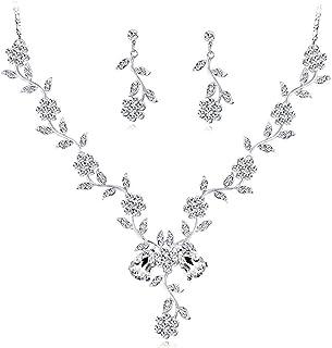 Women's Jewelry Set Bridal Jewelry Set Crystal Flower Leaf Earring Neckle Jewelry Set For Women's Wedding Bridal Bridesmai...