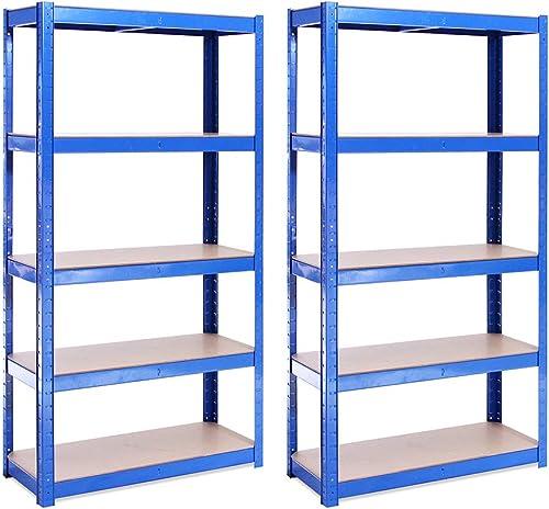 Rangement Garage: 150 cm x 75 cm x 30 cm | Deux unités, Bleu - 5 Niveaux | 175 kg par tablette (Capacité Totale de 87...