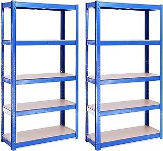 Rangement Garage: 150 cm x 75 cm x 30 cm | Deux unités, Bleu - 5 Niveaux | 175 kg par tablette (Capacité Totale de 875 kg)...
