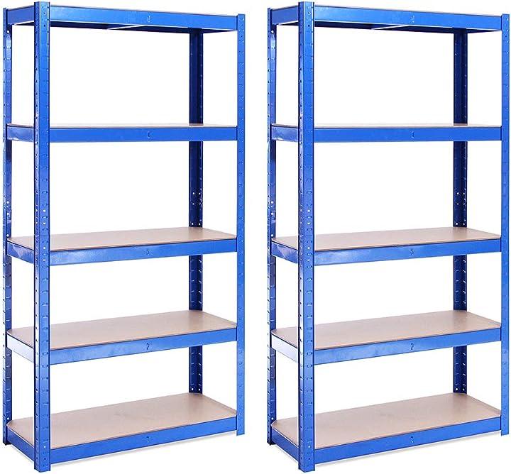 Scaffale garage g-rack (2 pezzi)–scaffalatura–150cmx75cmx30cm – blu – (5 ripiani capacità 175kg a ripiano) 0020