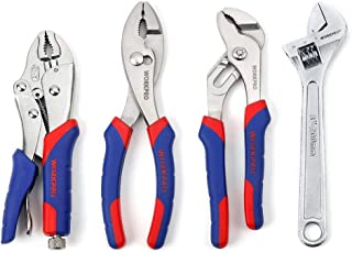 WORKPRO Pliers Set 4-piece Locking Plier Slip-joint Plier Groove Joint Pliers and Adjustable Wrench Home Maintenance Tool Kit