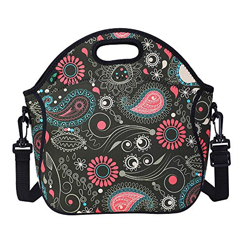 Neoprene Lunch Tote Washable Lunch Box Bag with Shoulder Strap, Portable Insulated Lunch Carrier with Extra Pocket (Black N2) Handbag Tote with Zipper for Office School Nurse Picnic by F40C4TMP