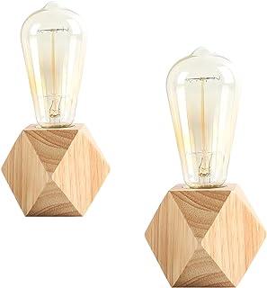 OuXean 2 pièces petite lampe de table lampe de chevet avec base en bois diamant à côté de la lampe, E27 60W parfait pour c...