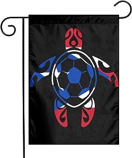 JGSGG11 Puerto Rico Flag Soccer Sea Turtle Vertical One Sided Polyester Garden Flag Banner 12 X 18 Inch for Outdoor Home Garden Decor