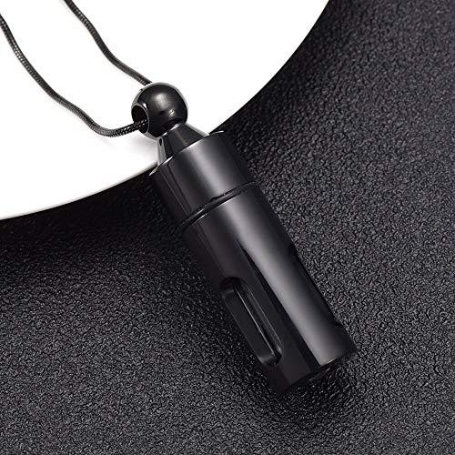TIANZXS Cremación de Vidrio Memorial Funeral Locket Collar de Cilindro Urna Colgante Ash Urn Jewelry Negro