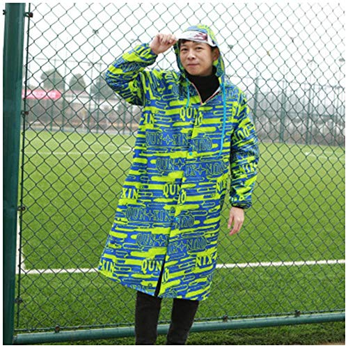 Guyuan Hommes Femmes Enfants Junior High School Students Adolescents Camouflage Oxford Cloth Long Imperméable Châle Zipper (Color : Green, Size : XL)