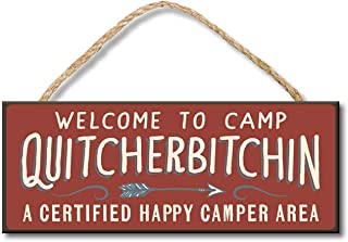 TOPFINES Welcome to Camp Quitcherbitchin - Happy Camper Hanging Wooden Sign Camper decorcamping decorcamping Accessories (10