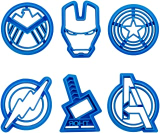 Baking Funny 6pcs Superhero Captain America Biscuit Cutter Cookie Stamp Sugar Cake Stamp Cut Cookie Cutters