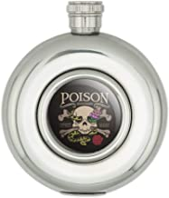 Poison Skull and Crossbones with Snake Foxglove Round Stainless Steel 5oz Hip Drink Flask