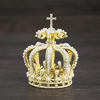 JohnJohnsen Pearl Crown Bridal Tiara Pearl Crown Cross Crown Noble Elegante Nupcial Tiara Crown Accesorio para el Cabello para Mujer (Dorado)