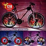Rueda de luz LED para bicicleta, impermeable, programable, luces de rayo de luz para neumáticos de bicicleta de bricolaje con baterías de colores accesorios de bicicleta para niños adultos 66 cm