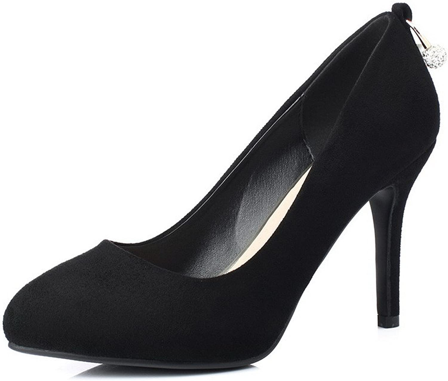 AllhqFashion Women's Imitated Suede Solid Pull-on Pointed Closed Toe High-Heels Pumps-shoes