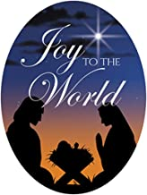 Joy to The World Christmas Nativity Silhouette Image on Flexible Magnet, 3 Inch