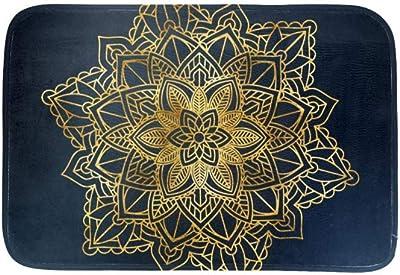 EGGDIOQ Doormats Ethnic Shimmering Mandala Custom Print Bathroom Mat Waterproof Fabric Kitchen Entrance Rug, 23.6 x 15.7in