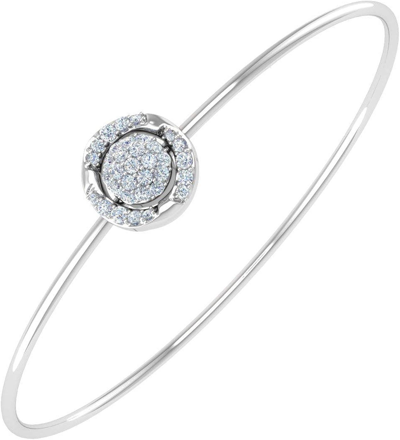 1/4 Carat Diamond Bangle Bracelet in 10K Gold and Steel