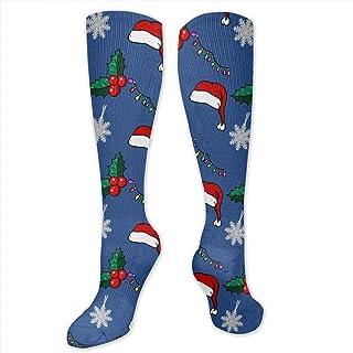 NCH UWDF, Adorno navideño Sombrero Papá Noel Nieve Azul Arte de Dibujos Animados Niños Calcetines de compresión Medias largas