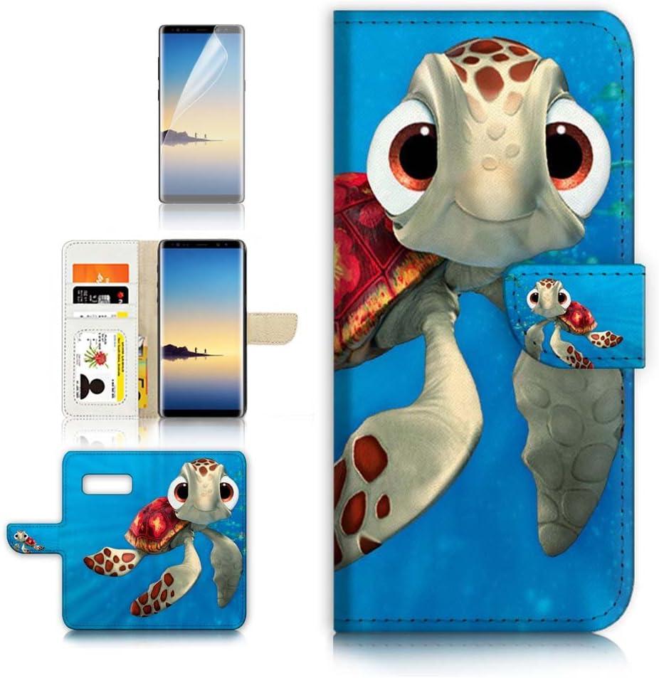 (for Samsung Galaxy S10) Flip Wallet Case Cover & Screen Protector Bundle - A21273 Cartoon Turtle