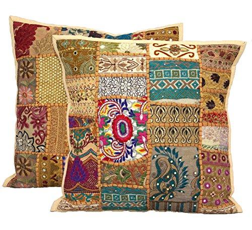Handicraftsuk - Fundas de cojín, 2 unidades, diseño hindú, hechas a mano, clásicas, decorativas, diseño con lentejuelas y bordados, decoración exclusiva para hogares, 40x 40cm