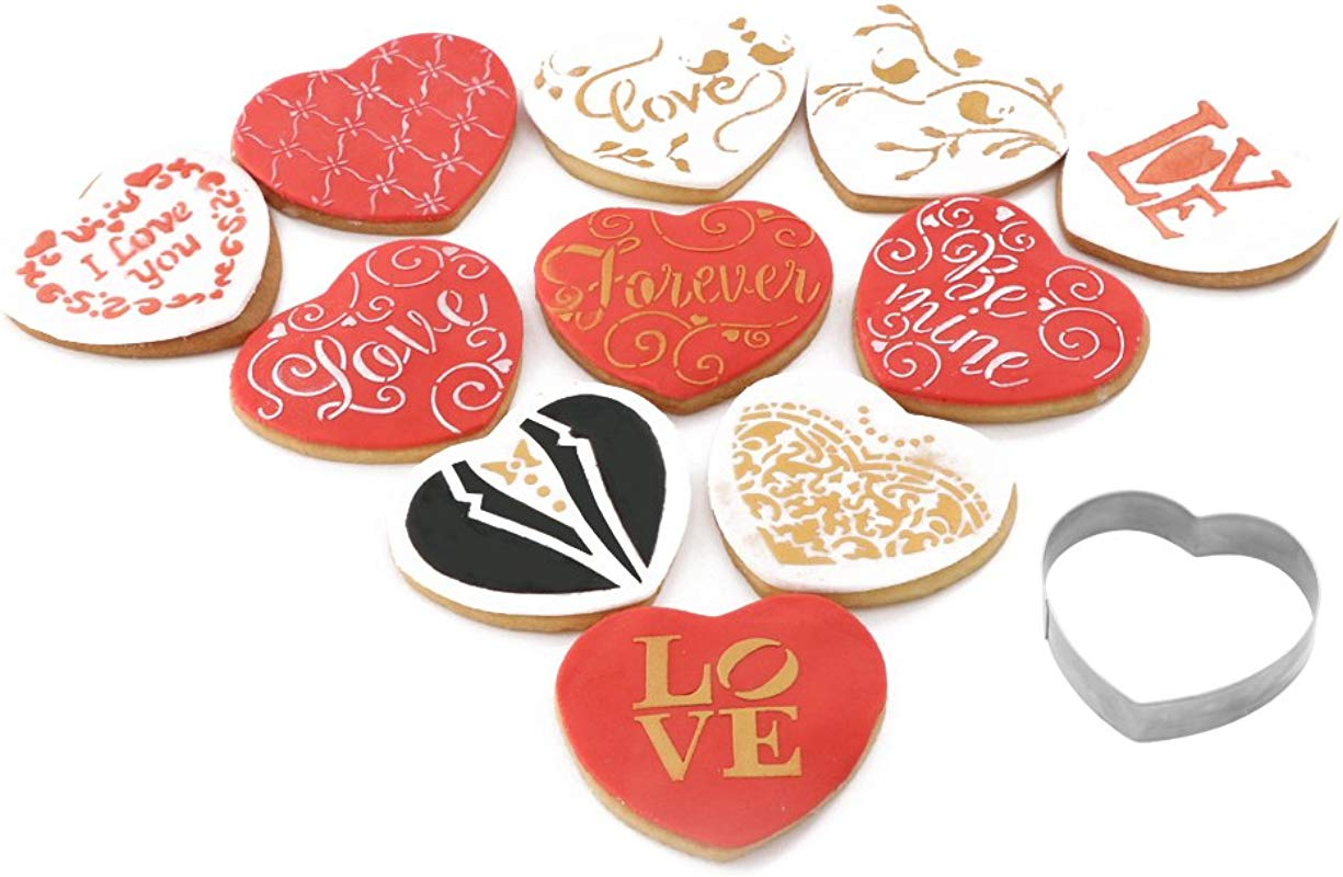 Wedding Decoration Cookie Stencil And Cutter Set 11 Pieces Cookie Decorating Stencil For Royal Icing 1 Piece Love Heart Cookie Cutter Bride And Groom