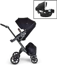 Stokke Xplory V6 Black Stroller with Black Chassis, Brown Leatherette Handle, and Black Car Seat Bundle