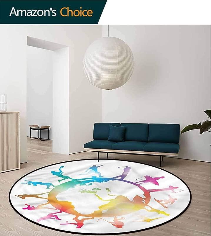 World Map Art Deco Pattern Non Slip Backing Round Area Rug Sports Players On Globe Non Skid Bath Mat Living Room Bedroom Carpet Diameter 35