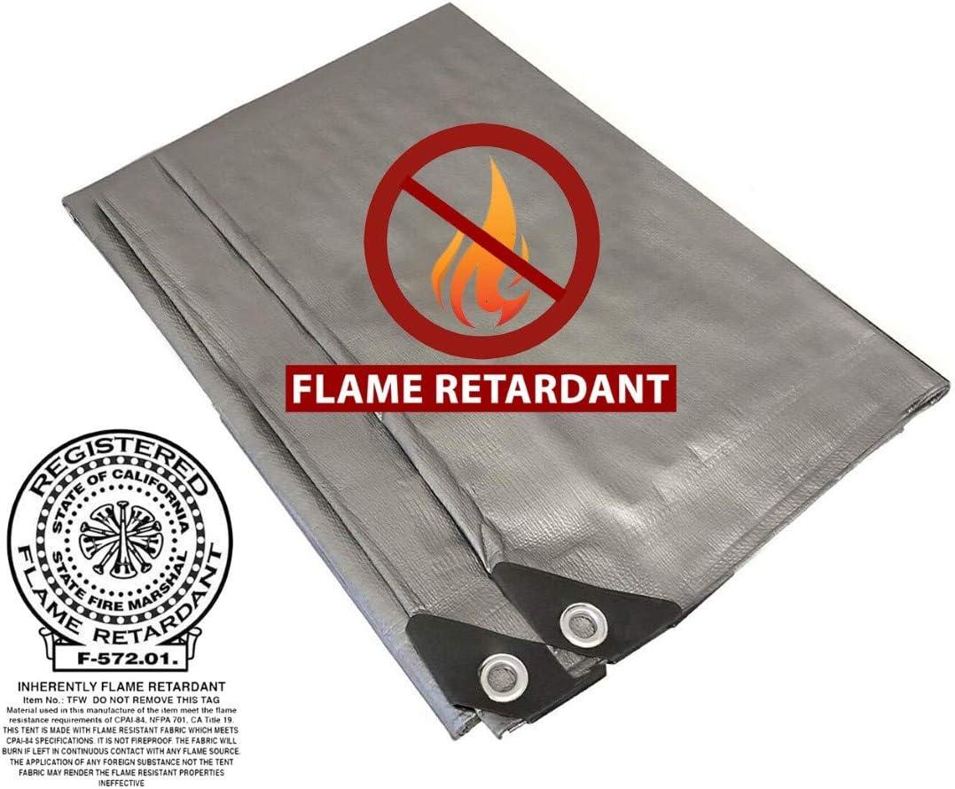 Fire Retardant Heavy Duty Shade 70% OFF Ranking TOP20 Outlet 8' Tarp Silver 10' x