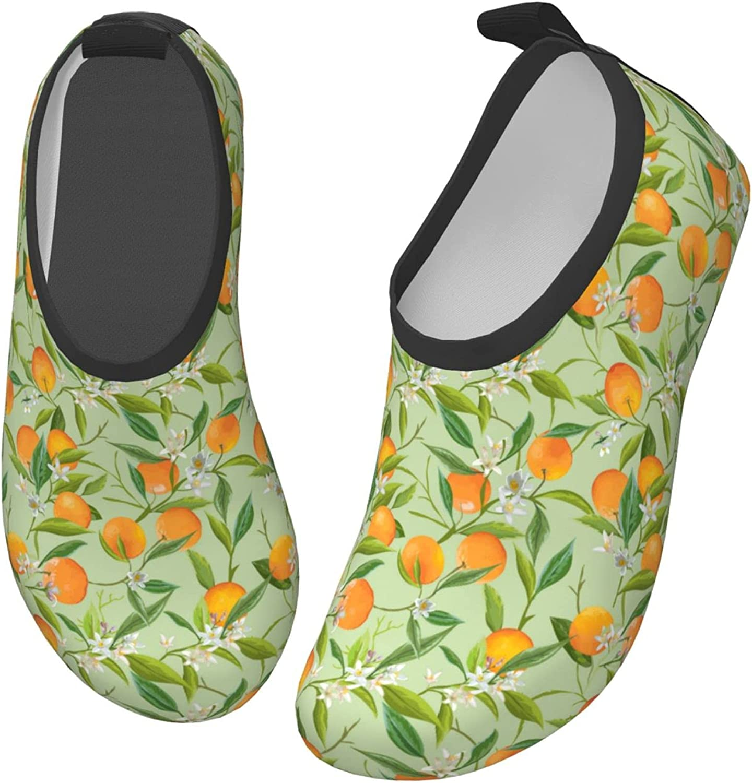Jedenkuku Cute Green Orange Flowers Children's Water Shoes Feel Barefoot for Swimming Beach Boating Surfing Yoga