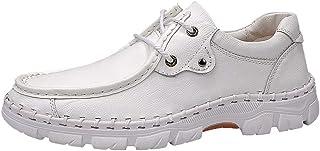 Sunny&Baby 男性のためのファッションビジネス作業靴PUレザー通気性の快適なローファー並ぶ滑り止めフラットレースアップラウンドトゥ 耐摩耗性 (Color : 白, サイズ : 24 CM)